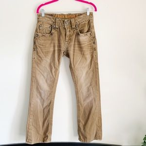 Rock Revival Nick Slim Cut Khaki Jean Pants 29